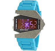 relógio de forma avião caixa de cerâmica digital de pulso banda de silicone dos homens (cores sortidas)