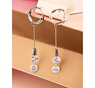 Fashion Long Round OL Zircon Alloy Stud Earrings for Women in Jewelry
