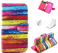 Rainbow Board Pattern PU Leather Case and Mini Display Stand with Diamond Dust Plug for Samsung Galaxy S5 Mini