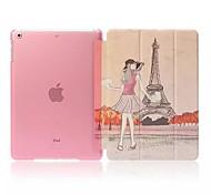 Eiffelturm und Mädchen Muster Ganzkörper-schwerer Fall mit Ständer für Apple iPad Luft