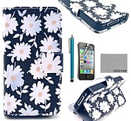 COCO FUN® White Chrysanthemum PU Leather Case with Screen Protector, Stand and Stylus for iPhone 4/4S