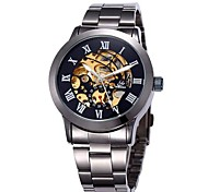 Men's Fashion Skeleton Dial Steel Band Automatic Self Wind Wrist Watch (Assorted Colors) Cool Watch Unique Watch