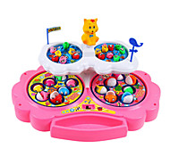 Funny Turntable Game Fishing Game Magnetic Fish Toy With Music Double-deck 4 wheel(Assorted Color)