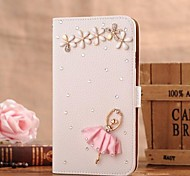 diamante dança pétala menina de couro pu caso de corpo inteiro com slot para cartão de suporte e para iPhone 4 / 4S