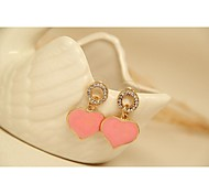 Fashion Korean Gold Plated Pink Heart Earrings for Women in Jewelry