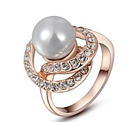 Christmas Gift Classic Austrian Crystals Sample Sales Rose Gold Plated Pearl Ring Party Jewelry