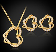u7® brincos pingente coração das mulheres de venda quentes definir 18k platina banhado a ouro jóias de strass austríaco para as mulheres