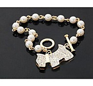 Love Is Your Fashion with Diamond Shining Pearl Bracelet with The Dog