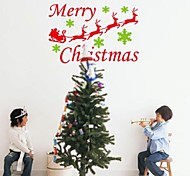 ZOOYOO® Cute Colorful PVC Removable christmas man with bear and leaves of Wall Stickers and Wall Decals For Home Decor