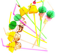 The Ice Cream Garland Pattern Plactis Party Straws(10/Package Random Color)