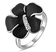 Friends Gift Classic Genuine Austrian Crystals Platinum Plated Black Flower Ring Jewelry Party OFF
