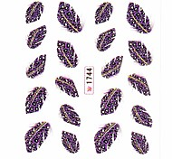Water Transfer Print Nail Art Stickers Decals Purple Feather Pattern For False Acrylic Nail Tips Design Nail Art