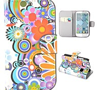 Beautiful Flowers Pattern Wallet Style Foldable Stand Leather Case for Alcatel One Touch Pop C3