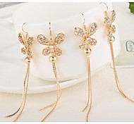 Love Is Your Fashion Bow Zircon Long Earrings
