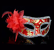máscara de halloween flor pena partido traje misterioso (cores sortidas)