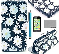 COCO FUN® White Chrysanthemum Pattern PU Leather Full Body Case with Screen Protector for iPhone 5C
