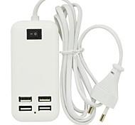15w 4ports USB Desktop Ladegerät AC-Adapter für Samsung-Handy, iPhone und andere (3a, 150cm, EU-Stecker)