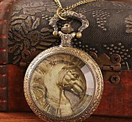 Women's Retro Large War Horse Roman Numerals Quartz Movement Necklace Watch