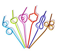 Multicolor Flexible Plactis Party Straws (5/Package)
