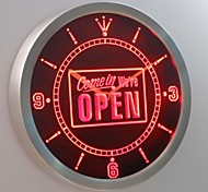 nc0243 Come in We're OPEN Shop Neon Sign LED Wall Clock