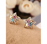 Korea Mini Multicolor Star Imitation Diamond 18K Gold Plated Stud Earrings for Women in Jewelry