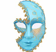 Party Queen Golden Trim Blue Masquerade Domino Hands Holding Mask