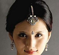 Indian Style Multicolor Rhinestone and Alloy Forehead Chain for Women(White and Red)(1Pc)