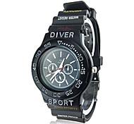 Coway Men's Round  Black Dial Black Silicone Band Quartz Analog Wrist Watch