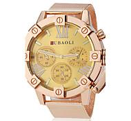 Men's Fashion Gold Case Steel Band Quartz Wrist Watch (Assorted Colors)