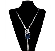 Lureme®Vintage Style   Butterfly Tassels Precious Stone  Alloy Necklace