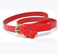 Women's Fresh Little Flower Metal Thin Leather Belt
