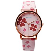 Women`s Fashion Four-Clover Pattern Candy Colored PU Leather Quartz Wrist Watch (Assorted Colors) Cool Watches Unique Watches