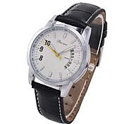 Coway Business Affairs homens rodada prata relógio de couro Dial banda de pulso de quartzo analógico (cores sortidas)