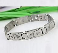 Men's Fashion Personality Titanium Steel Triangle Stripe Silver Bracelets
