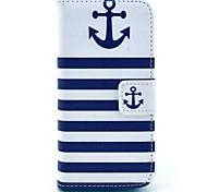 patrón de color azul marino de anclaje de la PU cuero caso de cuerpo completo de coco Fun® con protector de pantalla para 5c iphone