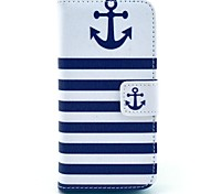 coco Fun® Marineblau Anker-Muster PU-Leder Ganzkörper-Schutzhülle mit Screen Protector für iPhone 5c