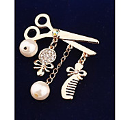 Fashion Mirror Comb Scissors Pearl Gold Plated Brooch for Women In Jewelry