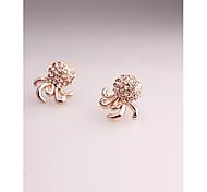 Fashion Korea Cute Octopus Champagne Imitation Diamond Stud Earrings for Women in Jewelry