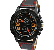 Men's Fashion Casual Sports Watches Leather Strap Military Wrist Watches (Assorted Colors)