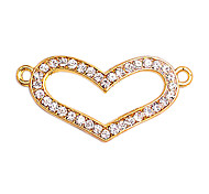 Alloy Gold Plated Rhinestone Heart Connectors for Bracelet