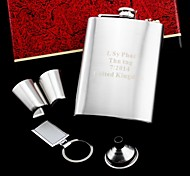 Personalized Gift 5 Piece 8oz Stainless Steel Hip Flask Set