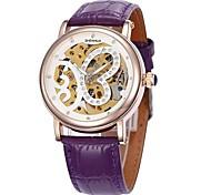 Frauen hohlen Schmetterling Wahlgoldgehäuse Lederband Auto-mechanische Armbanduhr