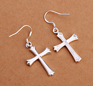 Fashion Lation Cross White Silver- Plated Earrings(White)(1Pair)