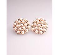 Fashion Korea Round Pearl Imitation Diamond Stud Earrings for Women in Jewelry