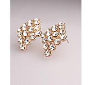 Fashion Korea Rhombus Gold Plated Stud Earrings for Women in Jewelry
