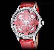 Women's 3D Flower Design Hollow Dial Leather Band Quartz Wrist Watch (Assorted Colors)