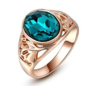 Friends Gift Classic Genuine Austrian Crystals 18K Rose Gold Plated Blue Stone Ring Jewelry Party OFF