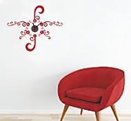 zooyoo® elektronischen Batterie Uhr diy rote Blume Hintergrund Wanduhr Wandaufkleberausgangsdekor für Zimmer
