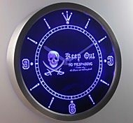 nc0390 Pirates Keep Out No Trespassing Skull Head Bar Neon Sign LED Wall Clock