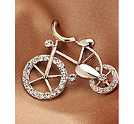 Fashion Korean Bicyle Imitation Diamond Gold Plated Brooch for Women In Jewelry